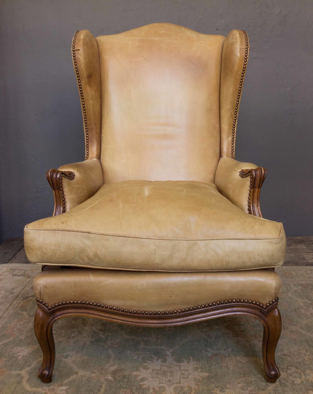 Louis XV Style Leather Wingback Armchair