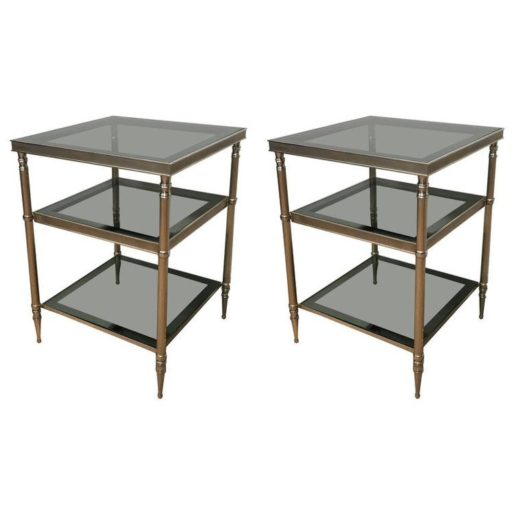 Pair of Silvered Brass Side Tables with Blue Grey Glass Shelves ...