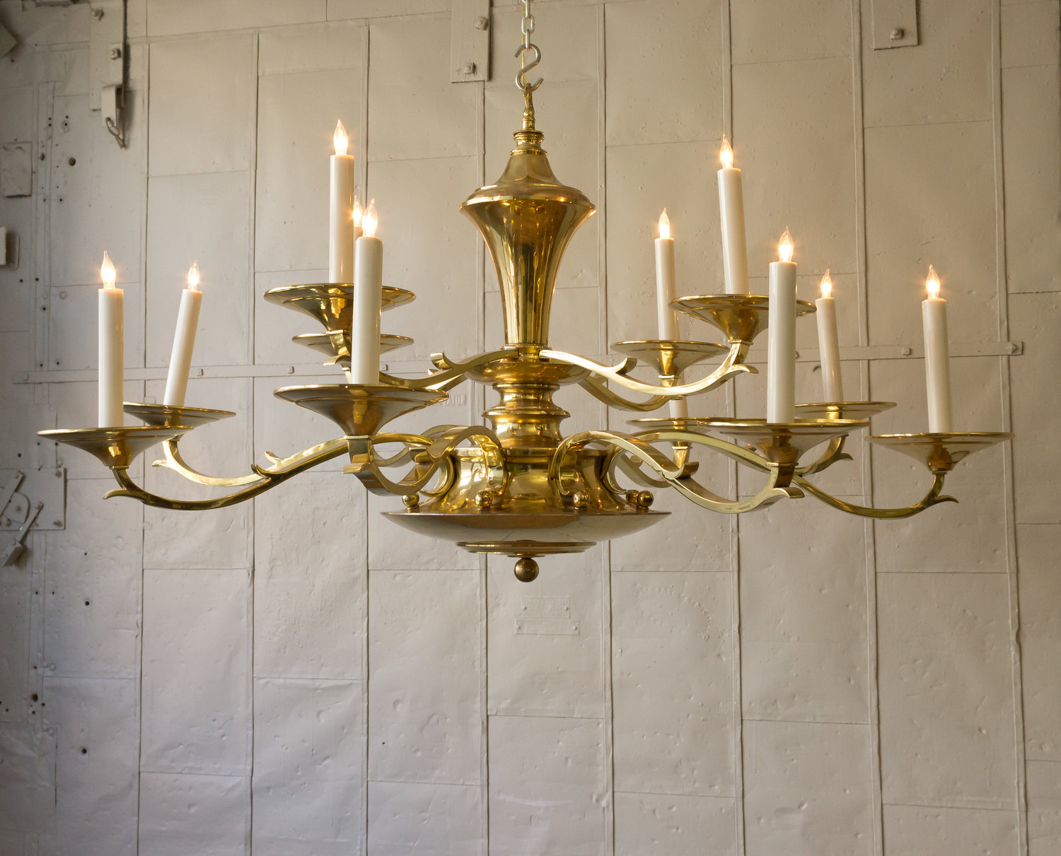 Large American Tiered Brass Chandelier