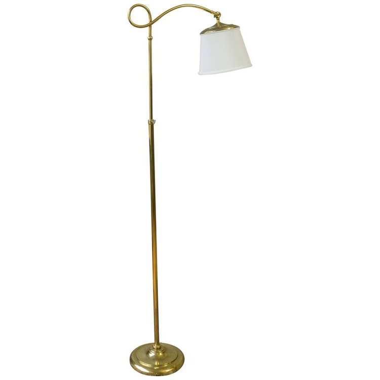 Adjustable brass reading floor lamp with a round base 145 antiques adjustable brass reading floor lamp with a round base aloadofball