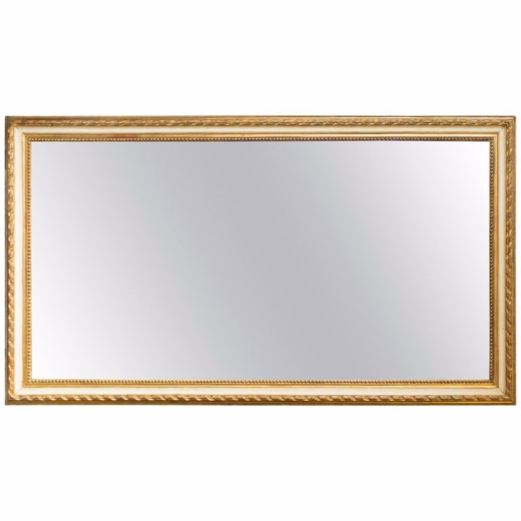 Large Rectangular French 19th Century Mirror with Gold and White ...