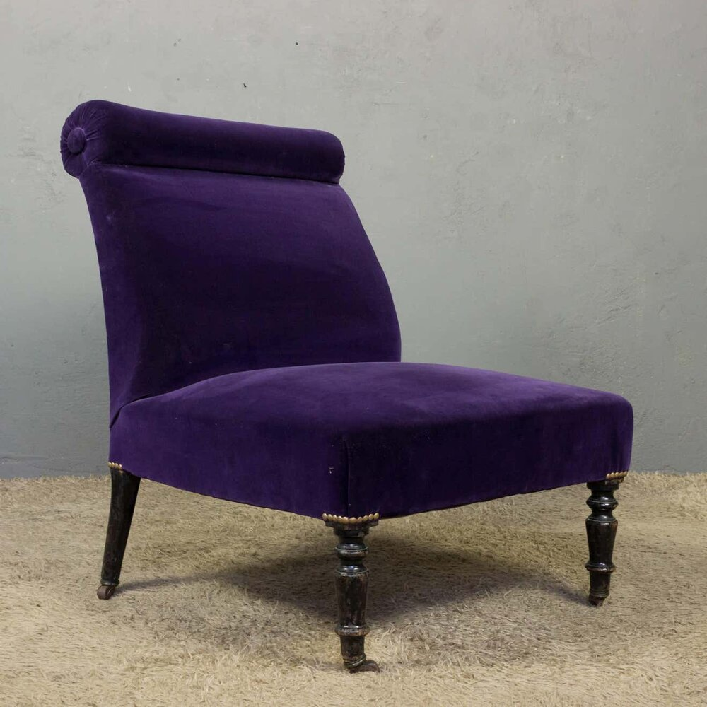 Napoleon III Slipper Chair in Purple Velvet - Napoleon III Slipper Chair In Purple Velvet — 145 Antiques