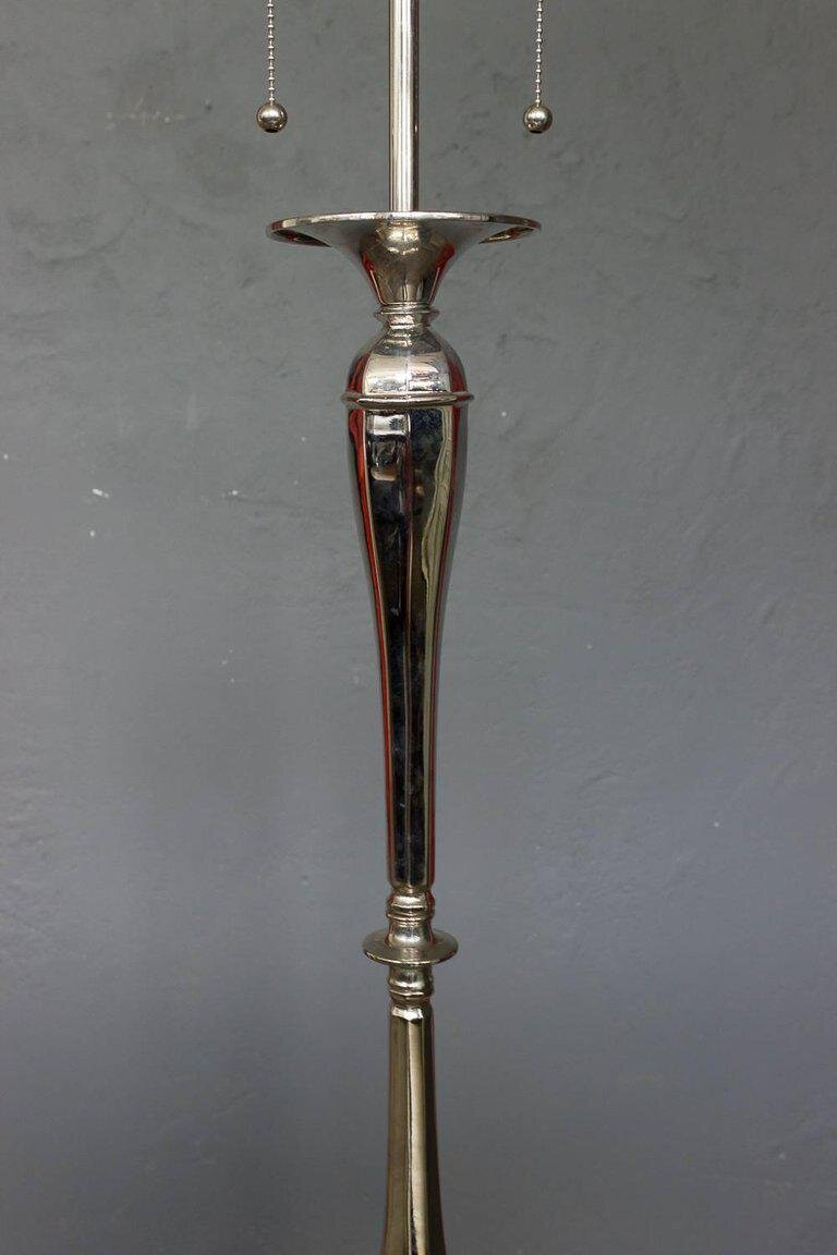 Elegant French 1940s Nickel Plated Floor Lamp 145 Antiques Rewiring Antique Lamps
