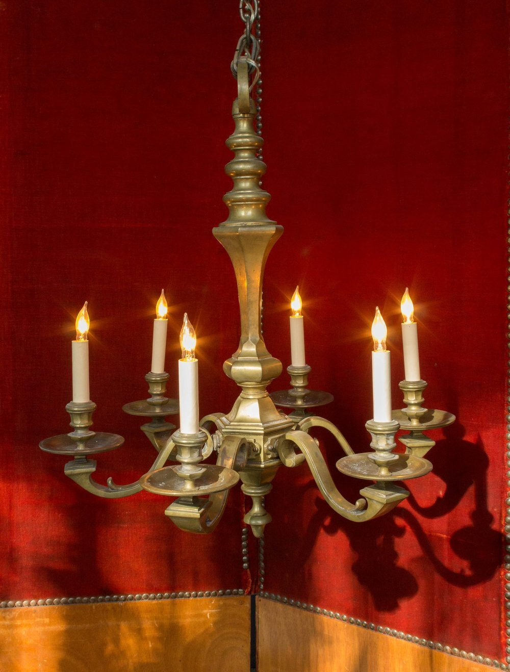 French 1940s 6 armed bronze chandelier 145 antiques french 1940s 6 armed bronze chandelier aloadofball Image collections