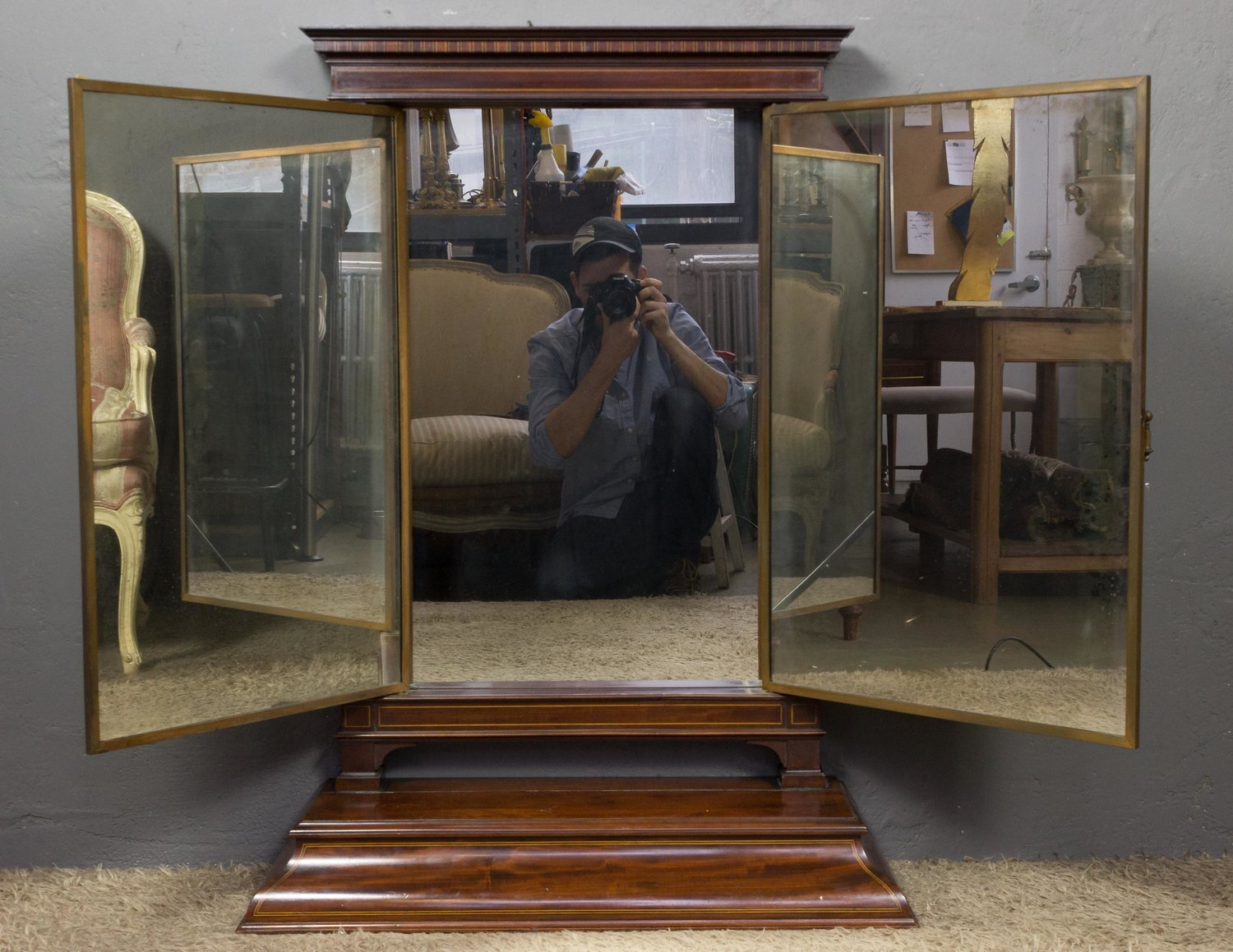 1920 S French Triptych Brot Vanity Mirror 145 Antiques