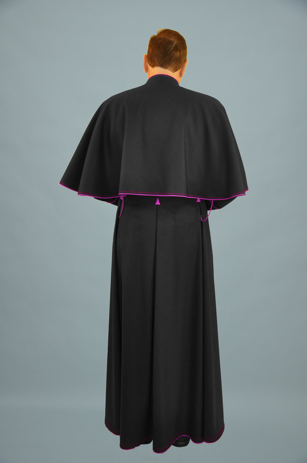 Cassock Black W Fuchsia Trim & Shoulder Cape (b).jpg
