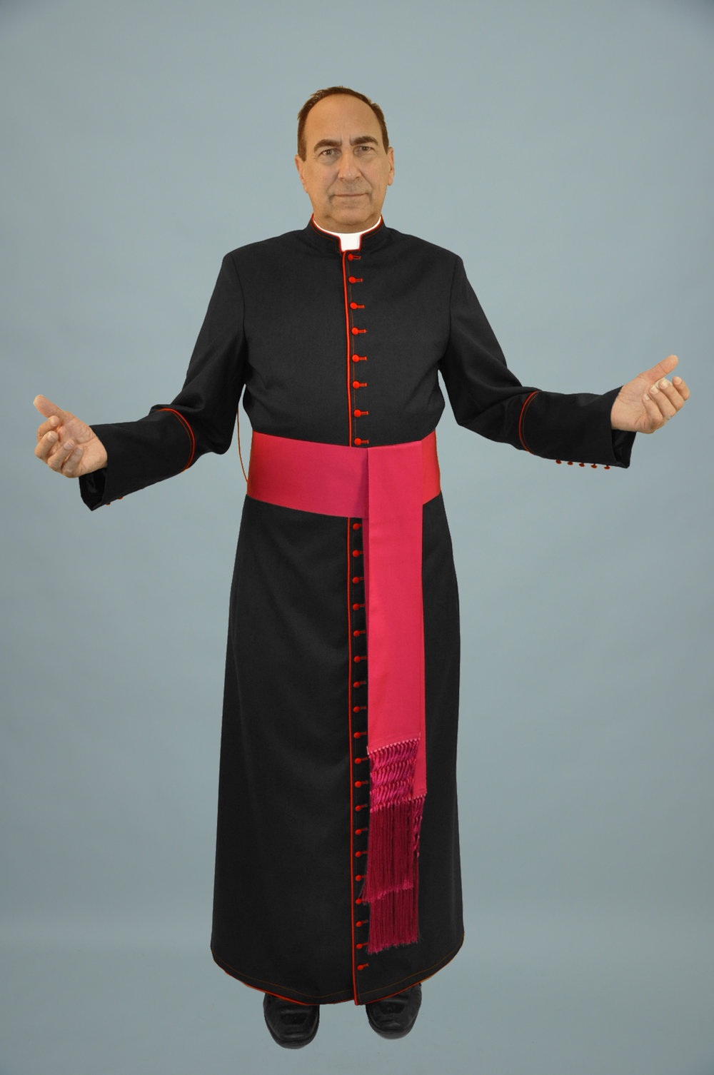 Cassock Black W Red Trim & Fuchsia Sash (f).jpg
