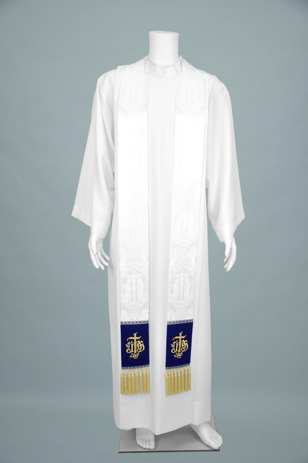 Priest Stole Crucifixion W Blue Velvet & 2326 blue gold 1.jpg