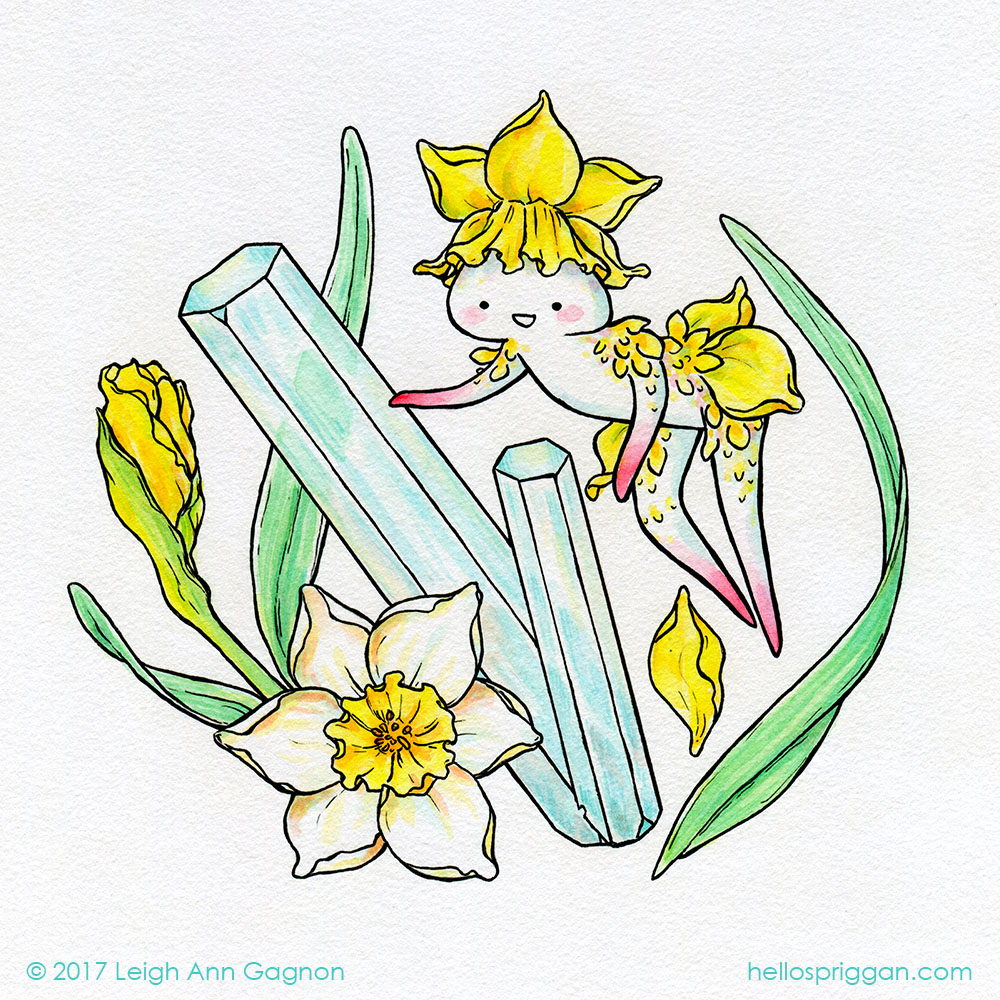 Daffodils & Aquamarine (March)