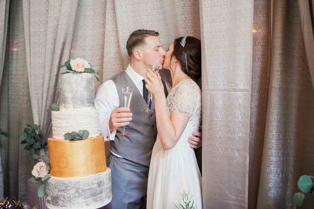 Brittany and Aaron included silver and gold tones on their gorgeous wedding cake. Photo:  Angela Karen