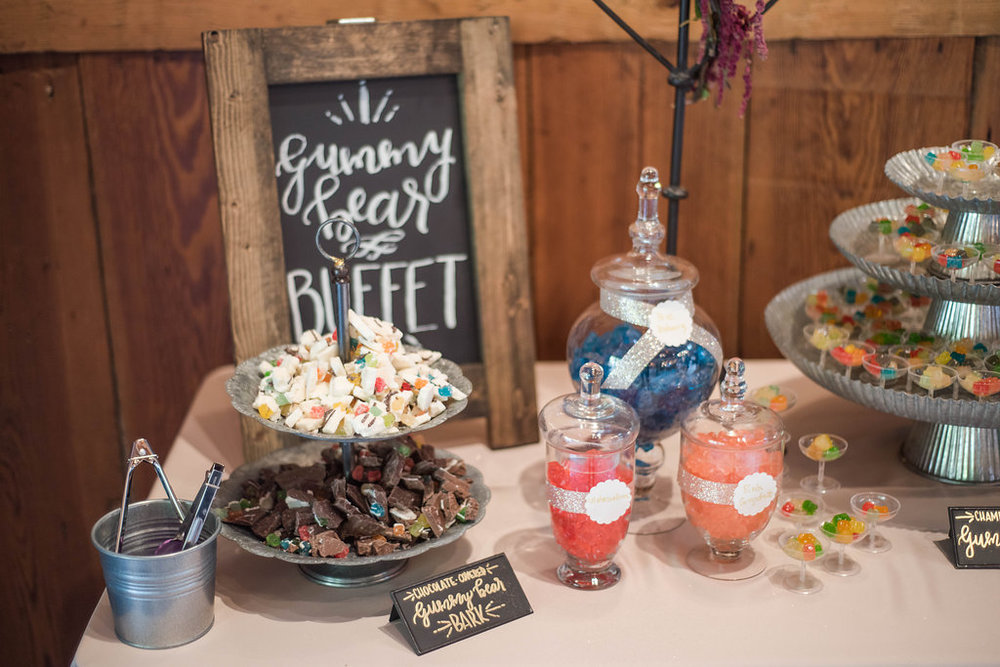 The candy buffet at Kathryn and Jesse's reception kept guests' smiling. Photo:  Angela Karen