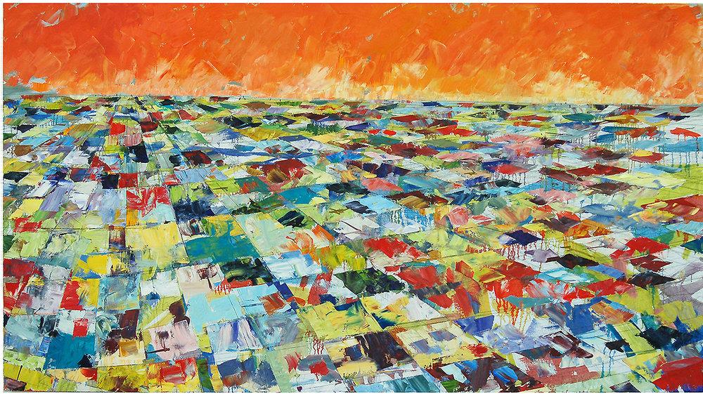 "Orange Crash, 2006, 40"" x 72"", o/c"