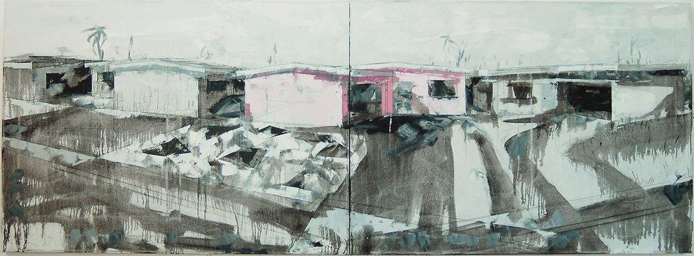 """Natalie's House 8, 2016, 32"""" x 88"""","""