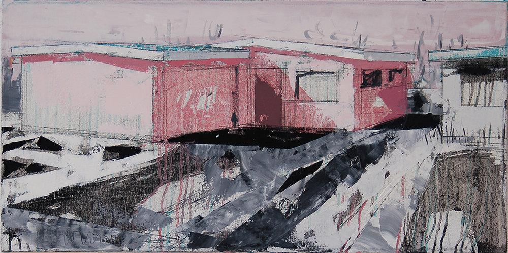 "Natalie's House 7, 2015, 14"" x 28"", o/c"