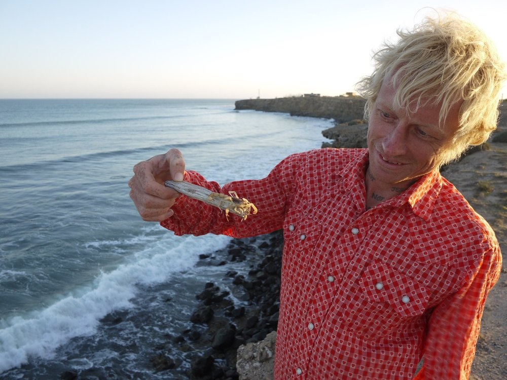 Scotty putting the scorpion in Scorpion Bay.