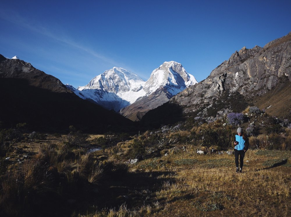 Huascaran twin peaks—el Norte on the right—is the highest point in Peru. Worthy distraction on our laguna slog.