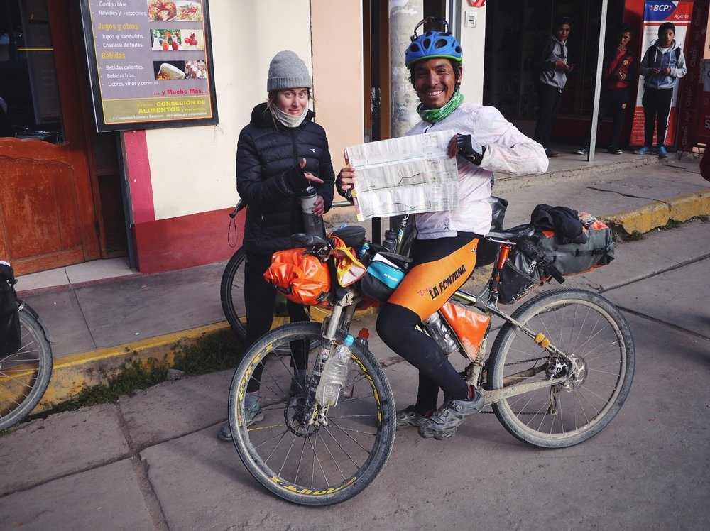 We met Rodney in Huallanca during the 2017 Inca Divide Bike Race. He's holding up the sadistic ultra marathon course map/elevation profile. The race ultilizes the Incan road network from Quito, Ecuador to Cuzco, Peru and totals 208,000' of climbing over 2,000+ miles. The race is fully self-supported and absolutely the most savage thing we've heard of. Out of money and food when we met him, Rodney gladly accepted our (meager) emergency snack stash of almonds and raisins and a few big chugs from my water bottle. We were not surprised to hear that he'd won the race six days later. What an animal.