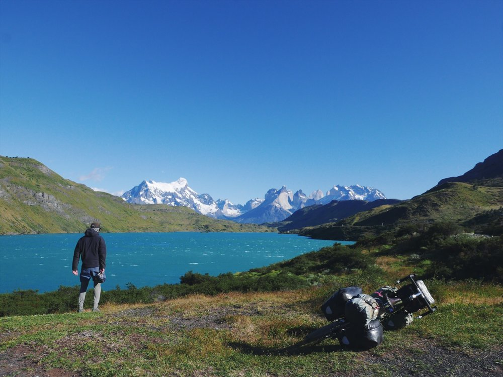 The Torres del Paine Park is truly spectacular, although it's hard to know how to best approach it on a bicycle trip. The crowds are absurd, as are the regulations surrounding the hiking and camping. We opted out of the famous multi-day treks and were very happy to have a few real good (real quiet-ish) moments to ourselves. Here Aidan is literally blown away.