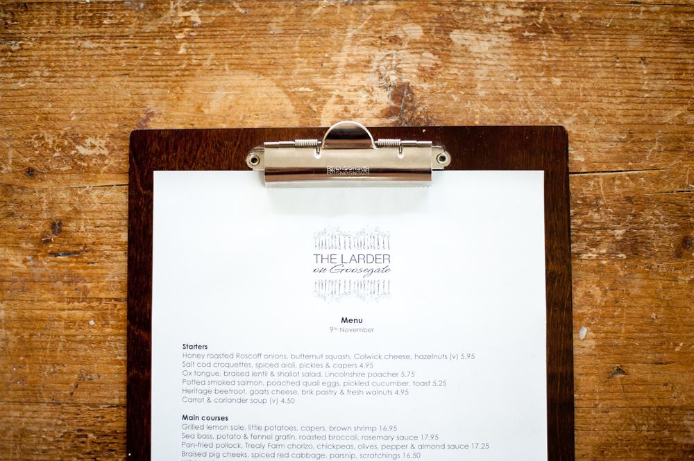 restaurant menu nottingham
