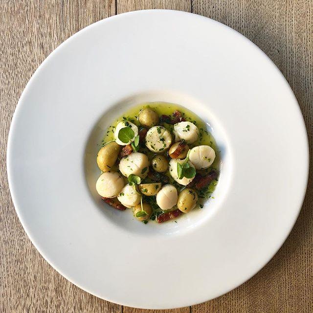 new dish alert: scottish queenie scallops, pancetta, jersey royals and wild garlic #scallops #wildgarlic #nottingham #nottsfood #foodstagram