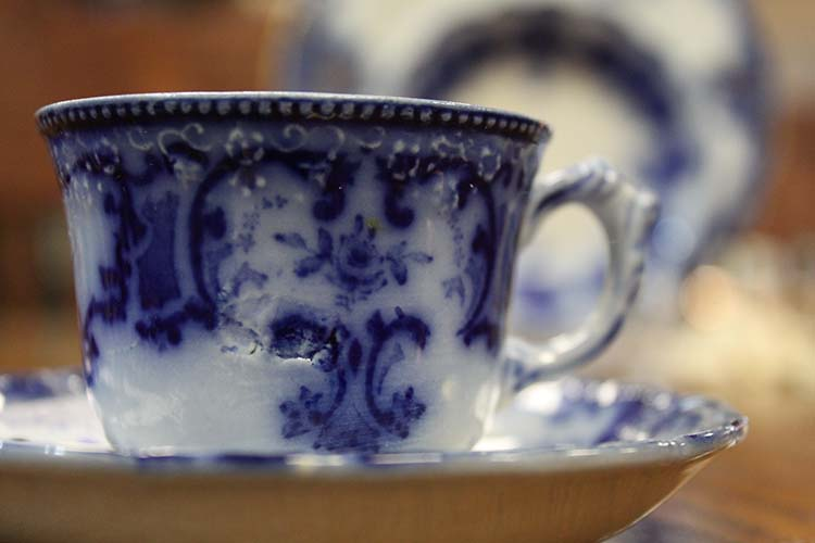 """Flow Blue"" are white and blue china pieces where the blue glaze bled, or ""flowed"" during the firing process."
