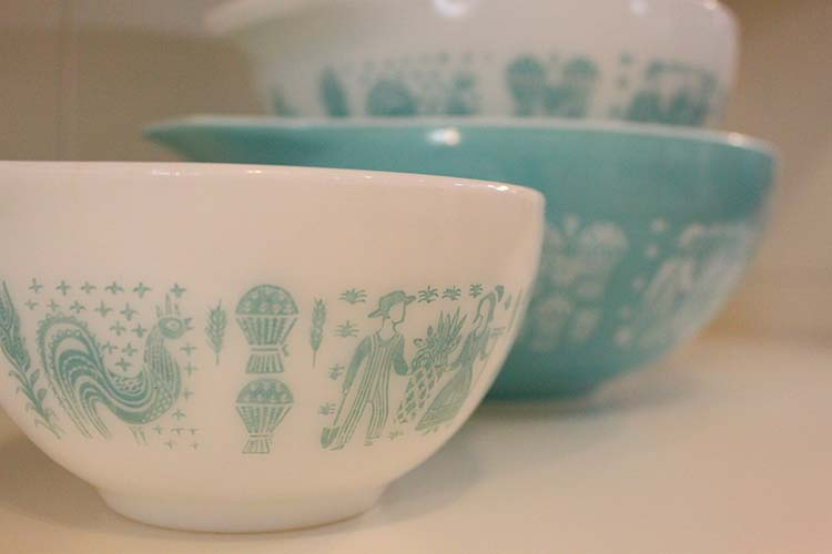 It is estimated that more than 150 patterns were created in the Colors line of PYREX. These beautiful bowls were discontinued sometime in the 1980's.