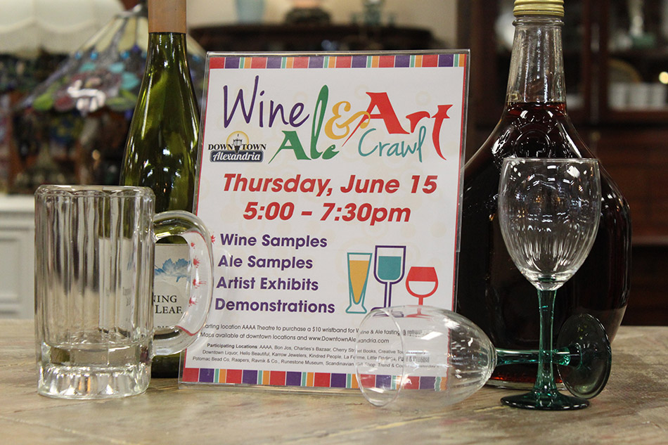 Wine, Ale and Art Crawl is Thursday, June 15 from 5:00-7:30 pm.