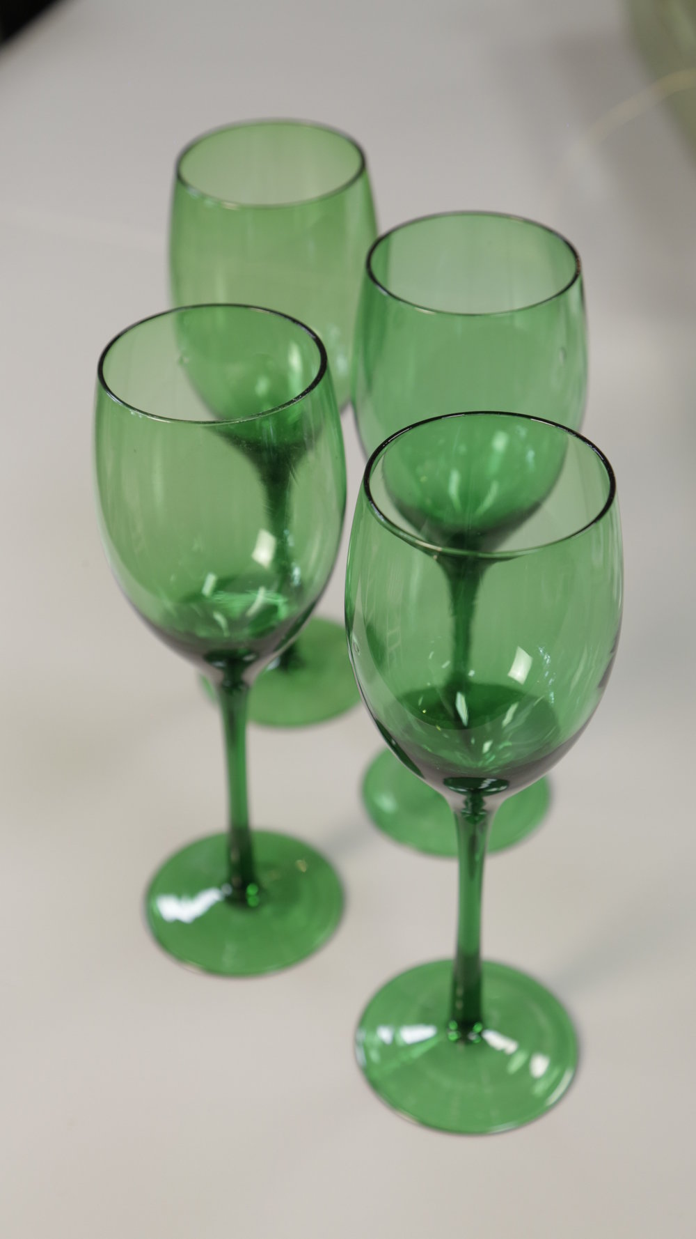 Green wine glasses
