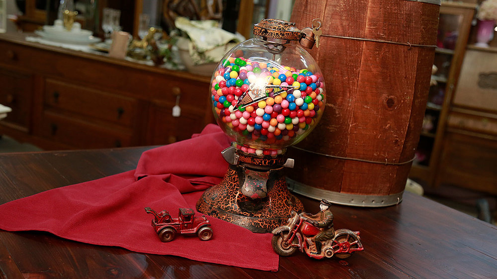 A rare highly collectible gumball machine is shown.