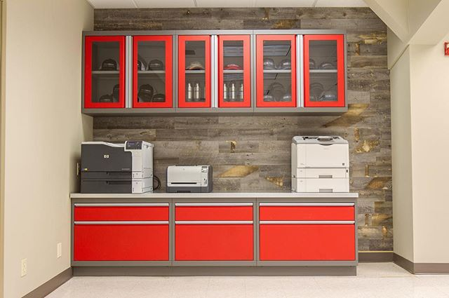 Our cabinets are also perfect for the printer/ utility station we work.  So, to repeat, we can do you break room, restrooms, desks, etc.  Please check us out! Link in our bio. . . . . .  #car #cars #garage #robbreport #garages #racecar #madeintheusa #houzz #porsche #porscheclub  #amazingcars247 #hgmotorsports #menwithautos #automotiveexperience #caranddrivermag #autocars1