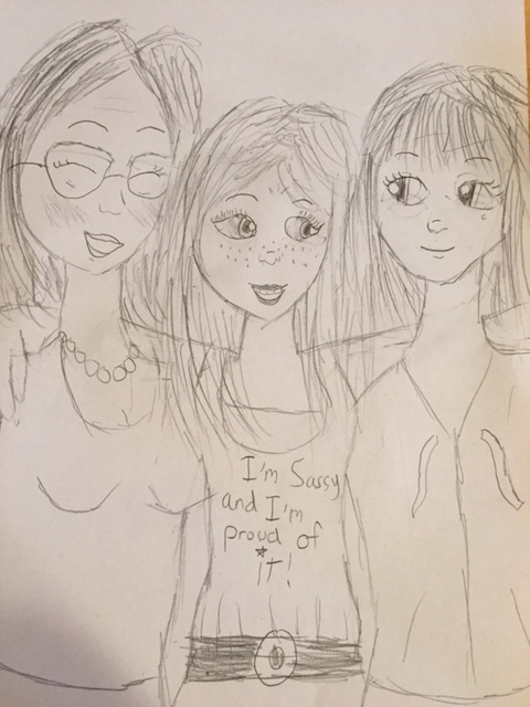 My nine-year-old daughter, Chiara was below the age range cutoff for this event, but she drew this illustration of the three of us together. From left: me, Chiara, Louisa.
