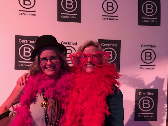 Rhonda Morton and I get decked out at the B Corp Champions Retreat in New Orleans