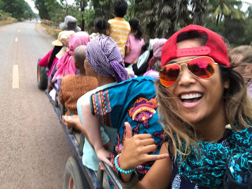 tractor ride to cambodian wedding