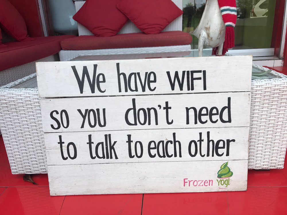 A real life sign I saw at a yogurt shop in Ubud, Bali.