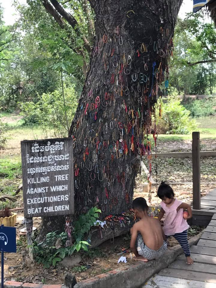 As the sign says, this is where the Khmer Rouge beat and killed children.