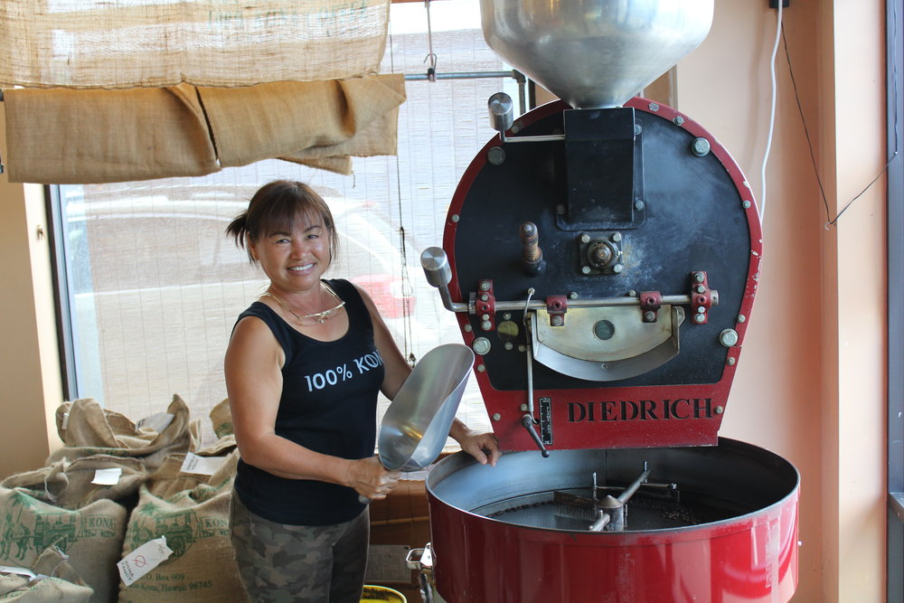 Our Master Roaster Lani roasts and tests every batch of beans in small batches. PHOTO: Dayva Keolanui