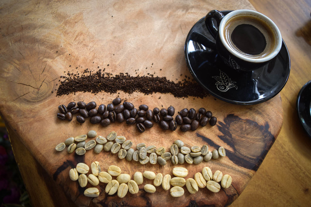 Honeywash, green, peaberry, and round medium roast 100% Kona coffee.  PHOTO: Dayva Keolanui