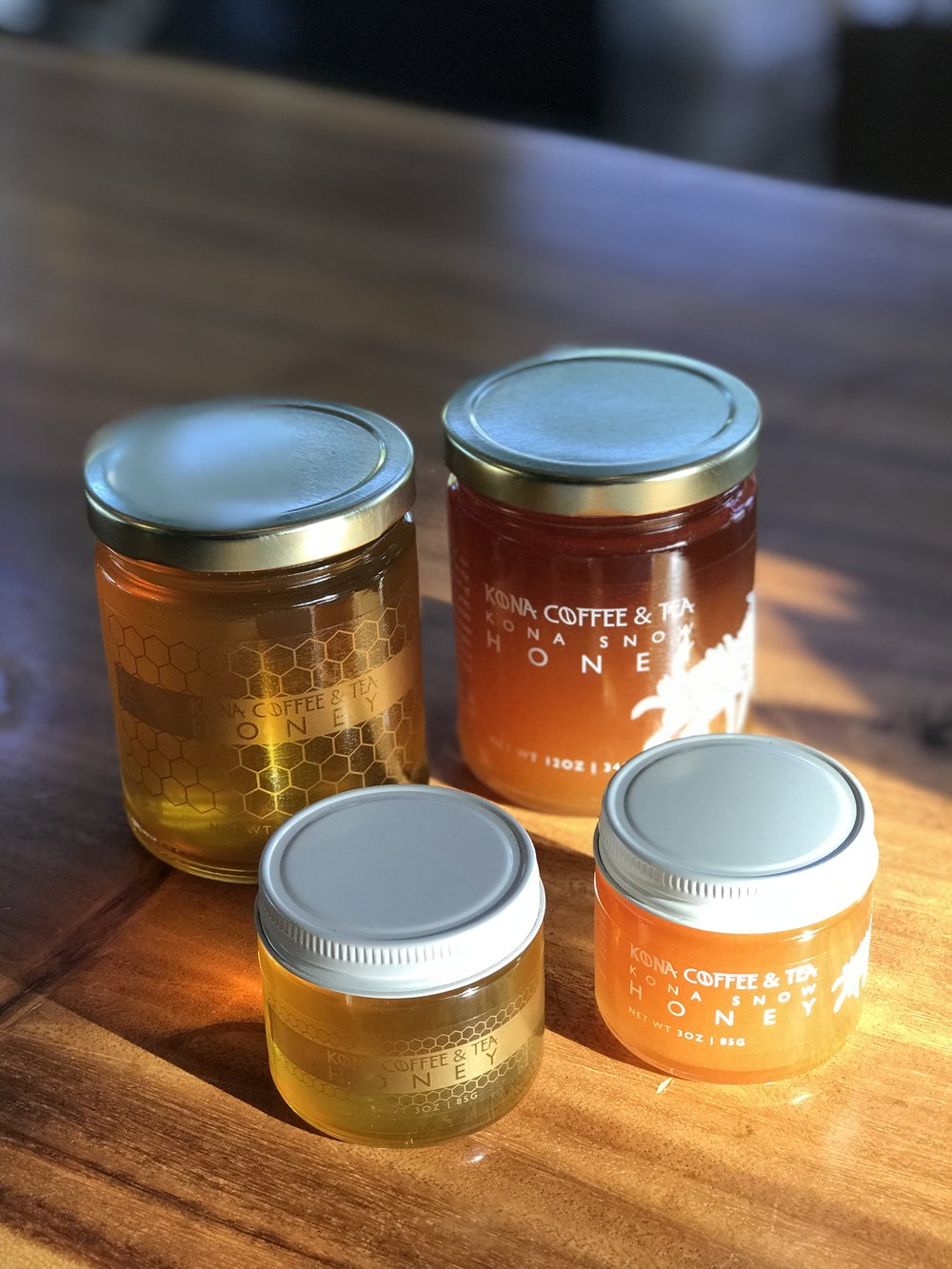 We offer two kinds of honey: a mixed blossom and Kona Snow (only harvested when the Kona coffee flowers are in bloom for a few months a year). PHOTO: Chance Punahele
