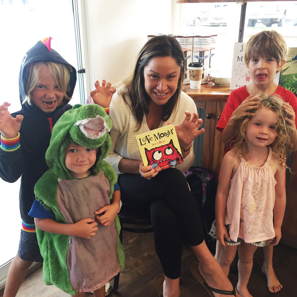 "Miss Tiff with participants at our June Story Time, themed ""Monsters"""