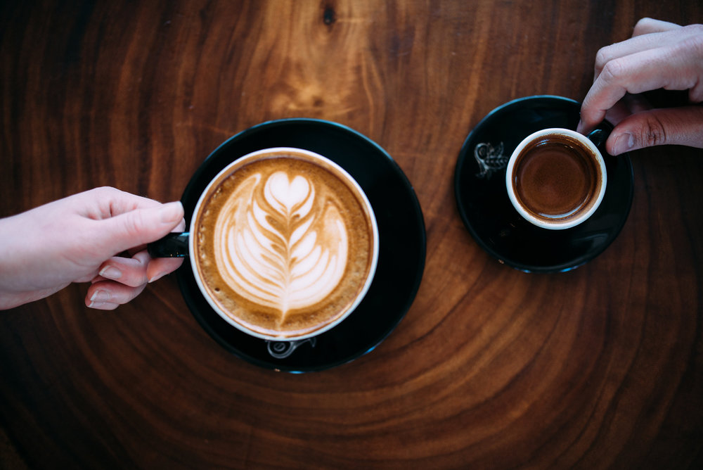 A Latte (coffee and milk) vs. an espresso shot have different amounts of caffeine. PHOTO: Blake Wisz
