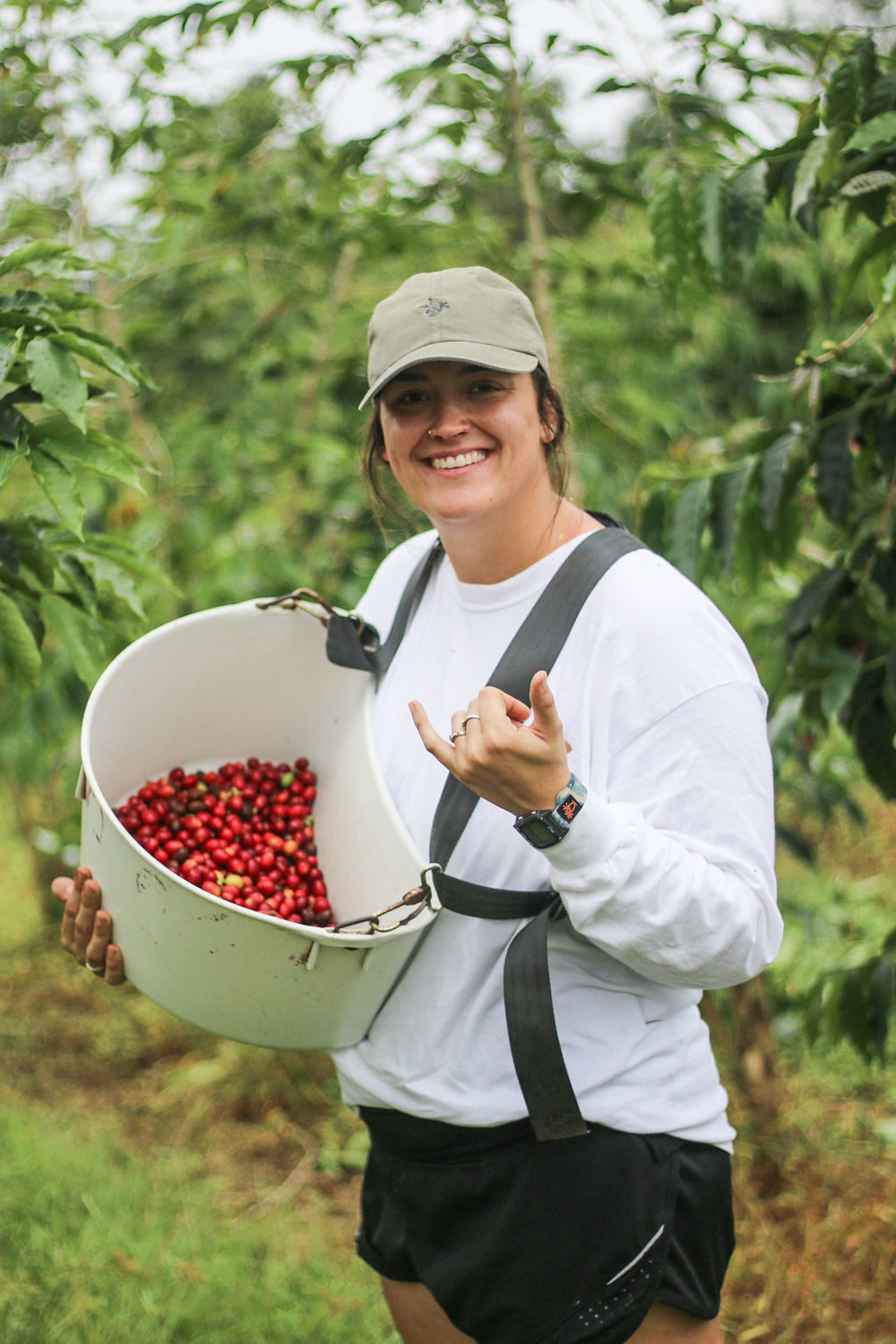 Margaret at her first first harvest on the Kona Coffee & Tea farm. PHOTO: Chance Ortiz