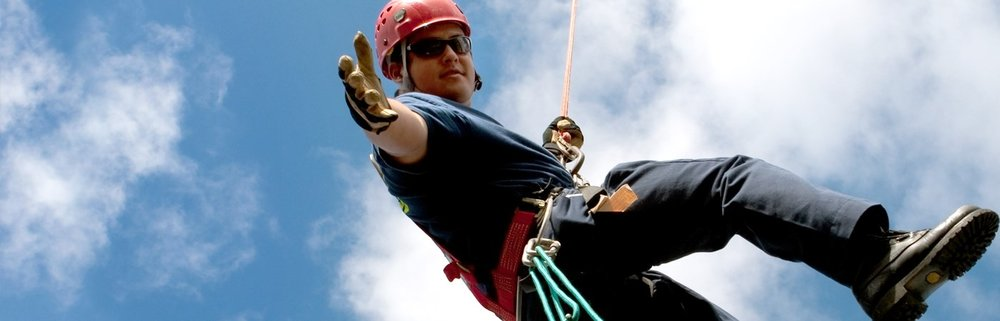 Hawaii County Firefighter training in rappelling. PHOTO: The Daniel R. Sayre Memorial Foundation