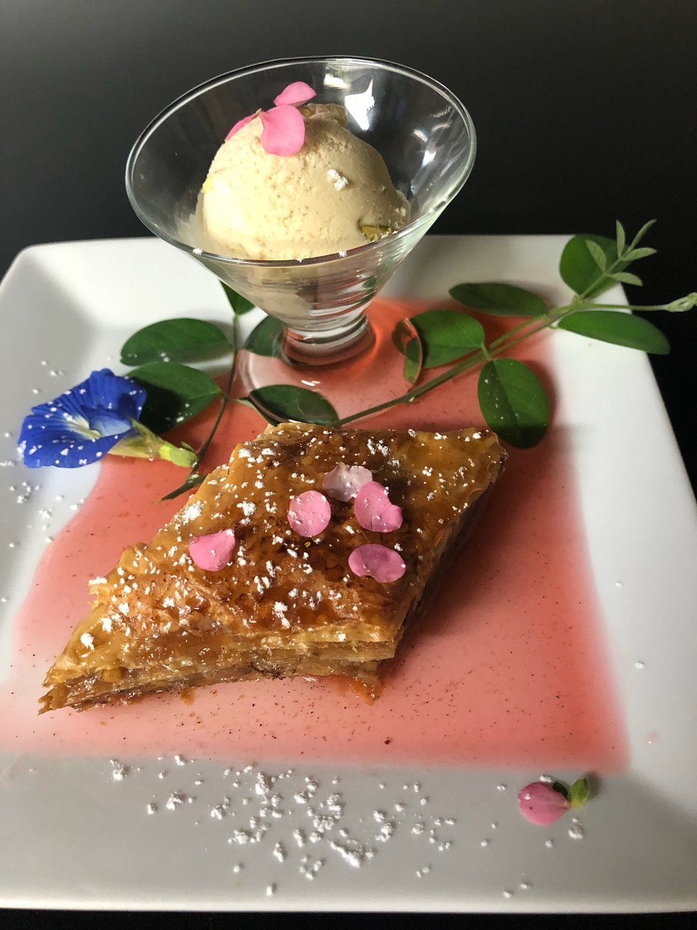 Here's a peek at dessert: Pistachio Baklava with a cardamon Rose ice cream