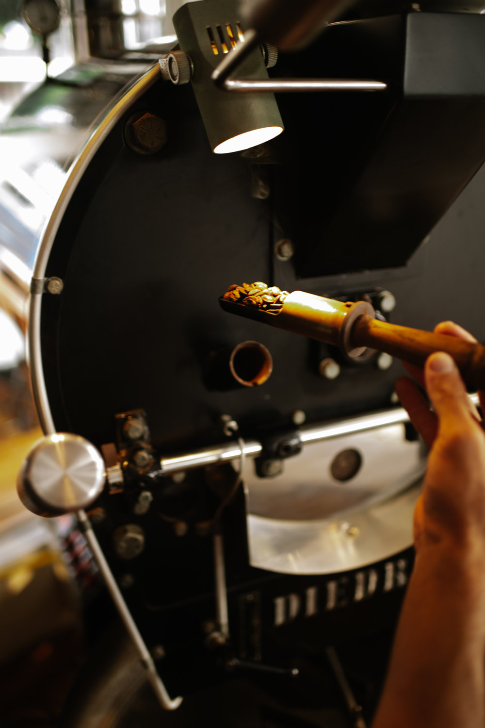 Coffee beans being inspected in the small-batch roasting process. PHOTO: Blake Wisz