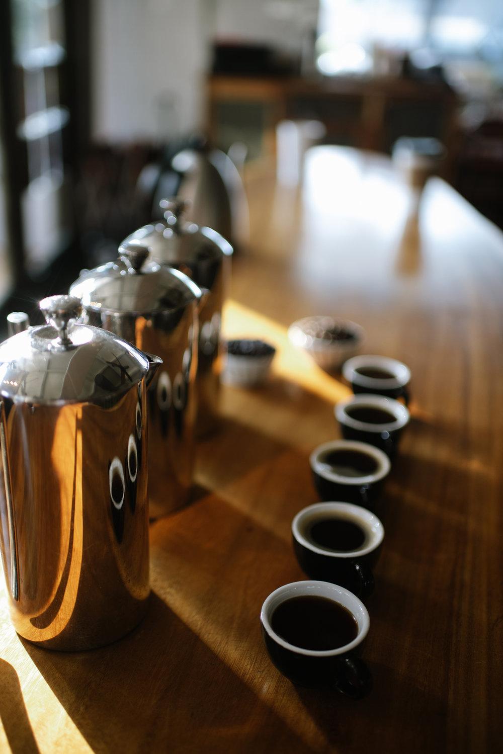 A tasting of 100% Kona coffee at our Kailua-Kona café. PHOTO: Blake Wisz