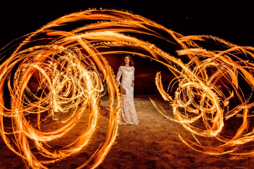 Bride in Fire - Photoshoot session with Firetribe