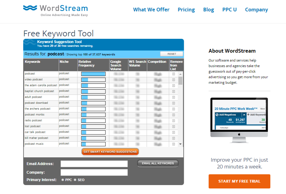 Wordstream provides a free tool for quick and dirty SEO keyword research.