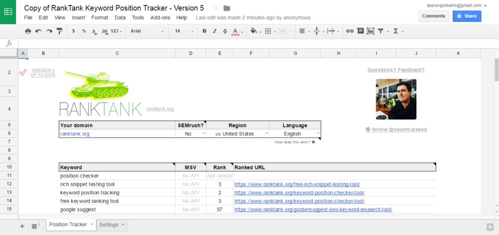 RankTank's free DIY spreadsheet for checking keyword rankings.