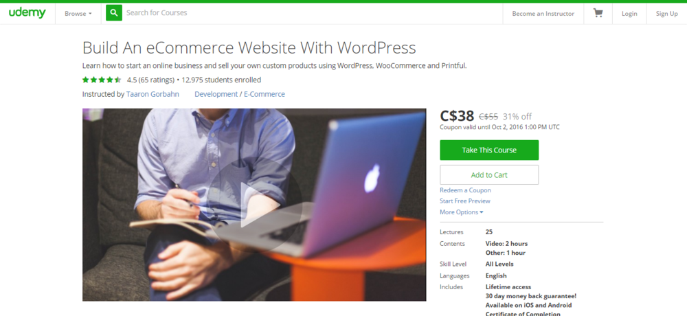 My online course landing page on Udemy.