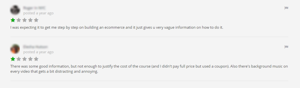 Some 1-star reviews for my online course.